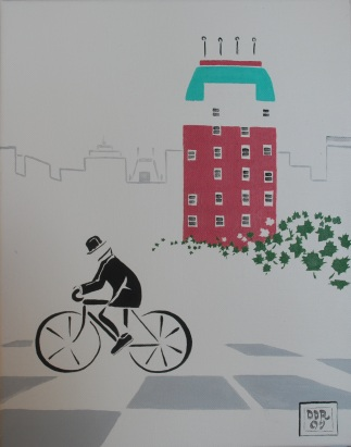 """Biking Blackstone"". 11"" x 14"". Acrylic on canvas. 2009."