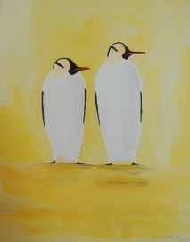 """Dos Penguinos"". 11"" x 14"". Acrylic on canvas. 2008."
