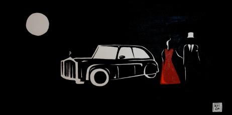"""Gala At Night"". 10"" x 20"". Acrylic on canvas. 2009."
