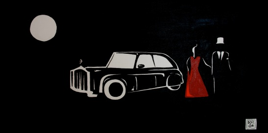 """Gala At Night"". 10"" x 20"". Acrylic on canvas. 2009."