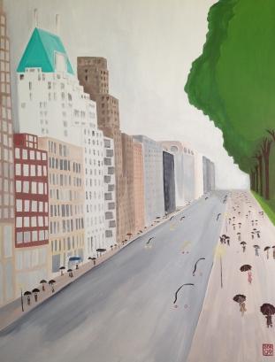 """""""Park South"""". 36"""" x 48"""". Acrylic on canvas."""