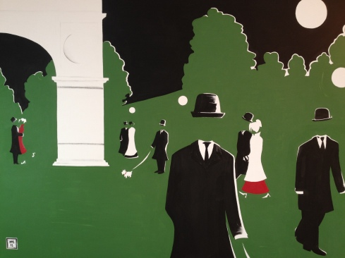 """""""Night On The Green"""". 30"""" x 40"""". Acrylic on canvas."""