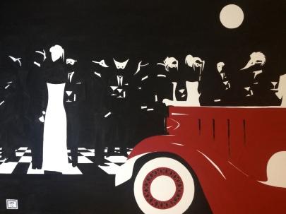 """Masked Garden Party"". 30"" x 40"". Acrylic on Canvas."
