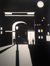 """Night At The Square"". 30"" x 40"". Acrylic on canvas. April 2012."