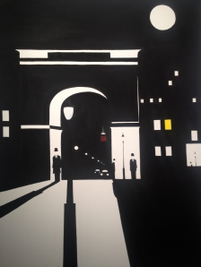 """""""Night At The Square"""". 30"""" x 40"""". Acrylic on canvas. April 2012."""
