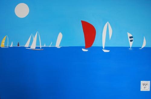 """Regatta At Christiansted"". 20"" x 30"". Acrylic on canvas. 2010."