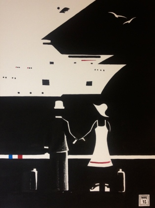 """The Embarkment"". 18"" x 24"". Acrylic on canvas. 2012"