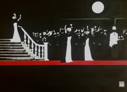"""Toast of the Night"". 30"" x 40"". Acrylic on Canvas. 2012."