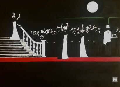 """Toast of the Night"". 30"" x 40"". Acrylic on Canvas. 2012."