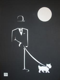 """Walking Sal"". 30"" x 40"". Acrylic on canvas. 2010."