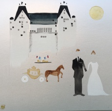 """""""An Invitation to Wedding at The Plaza"""". 6"""" x 6"""". Acrylic on paper."""